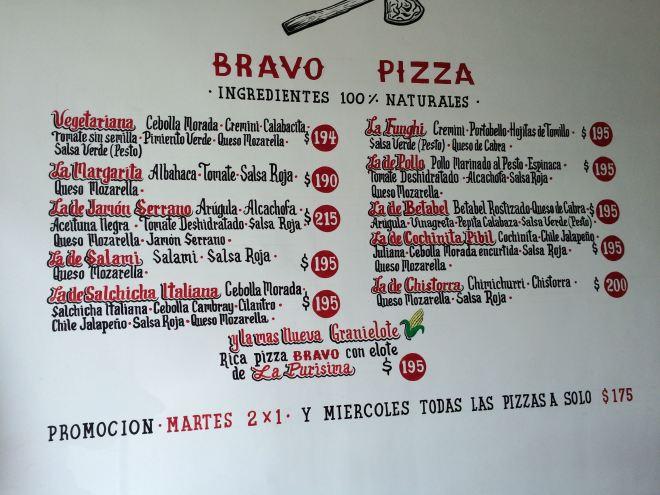 Menu BRAVO Pizza