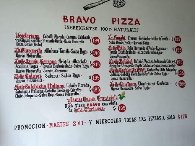 Menu BRAVO Pizza